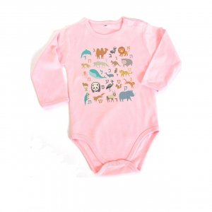 Barbara Shaw Long Sleeve Baby Onesie - Hebrew Alphabet