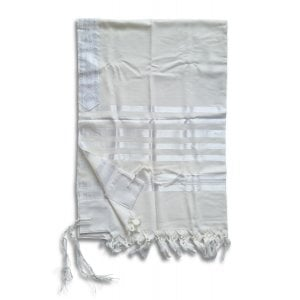 Talitnia Barak, Non-slip Lightweight Wool Tallit Prayer Shawl - White Stripes