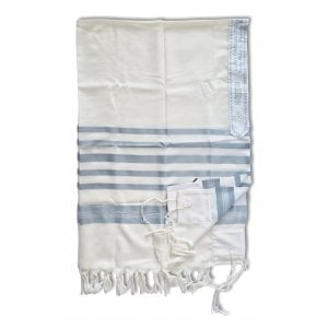 Talitnia Barak Non Slip Lightweight Wool Tallit Prayer Shawl - Blue Stripes