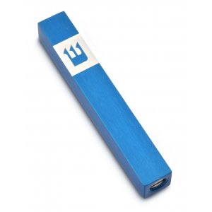 Adi Sidler Mini Mezuzah Case, Crown Shin Design - Blue