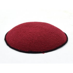Hand Knitted Cotton Kippah - Deep Maroon with Black Border