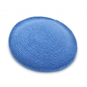 Hand Knitted Cotton Kippah - Solid Sky Blue