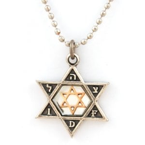 Israeli Army Star of David Bronze Pendant with Reflective Center