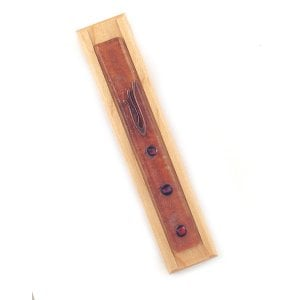 Beige Wood Mezuzah with Glass Decorations