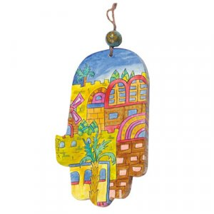Yair Emanuel Hand Painted Wood Wall Hamsa, Gold - Jerusalem Images