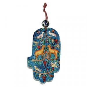 Yair Emanuel Small Hand Painted Wood Wall Hamsa, Blue - Forest