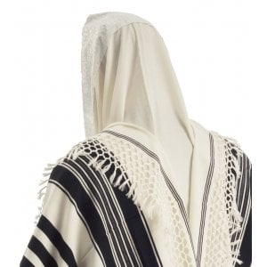 Talitnia Yemenite Tallit Temani Prayer Shawl - Net Fringes - Six Rows Knotting