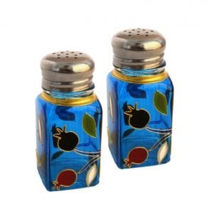 Colorful Pomegranate design Glass Salt & Pepper Shakers