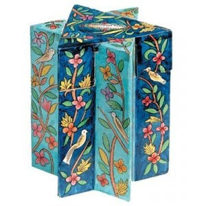 Yair Emanuel Star of David Wood Charity Tzedakah Box - Birds Floral, Blue