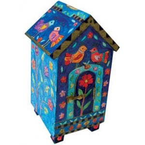Yair Emanuel Blue House-Shaped Wood Tzedakah Charity Box - Birds & Flowers