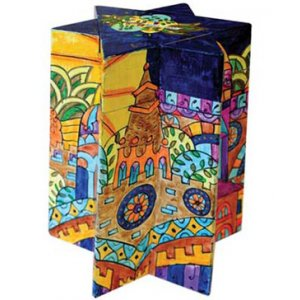 Yair Emanuel Star of David Colorful Wood Charity Tzedakah Box - Golden Jerusalem
