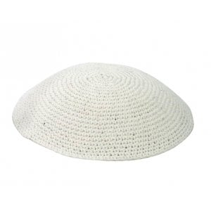 White Thick Knitted Kippah