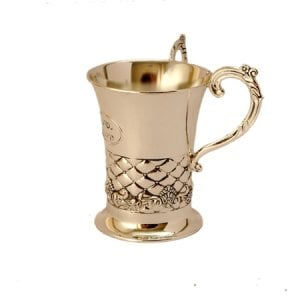 Silver Plated Gleaming Netilat Yadayim Wash Cup - Geometrical Design