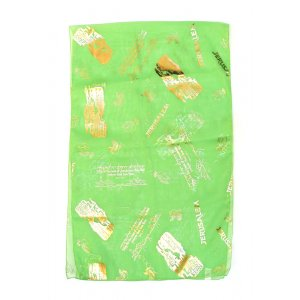 Spring Green Chiffon Head Scarf - Jerusalem Gold Design