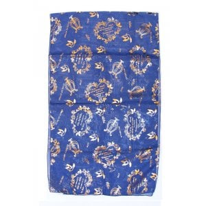 Exquisite Blue Chiffon Head Scarf - Song of Songs Gold Design