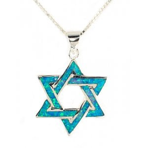 925 Sterling Silver and Opal Interlocked Star of David Pendant Necklace