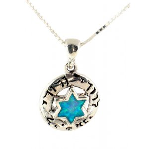 Silver and Opal Kaballah Star of David Pendant