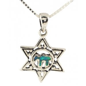 "Silver and Opal Star of David ""Chai"" Pendant"