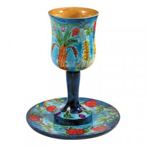 Yair Emanuel Hand-Painted Wood Stem Kiddush Cup and Saucer - Seven Species