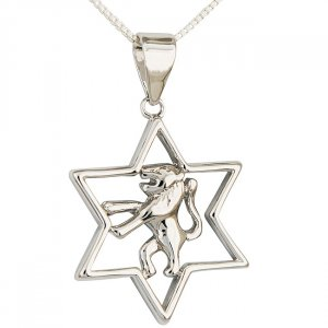 Gold Filled Rhodium Plate Star of David with Lion of Judah Pendant
