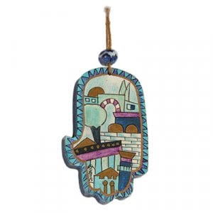 Yair Emanuel Small Hand Painted Wood Wall Hamsa, Blue - Jerusalem