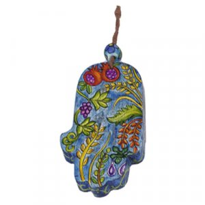 Yair Emanuel Small Hand Painted Wood Wall Hamsa, Blue - Seven Species