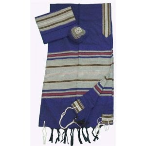 Gabrieli Handwoven Cotton Blue Tallit Set - Colored Stripes