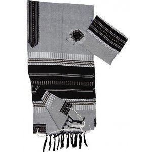 Gabrieli Handwoven Cotton Gray Tallit Set - Black and Silver Stripes