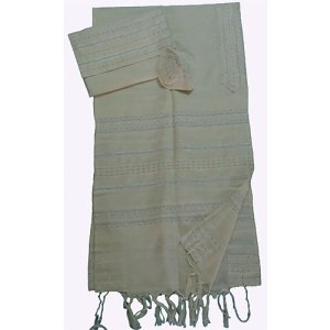 Gabrieli Handwoven Off-white Cotton Tallit Set - Silver Stripes