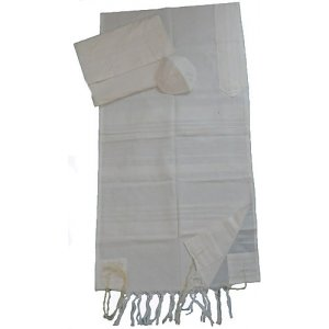 Gabrieli Handwoven Cotton Tallit Set - White