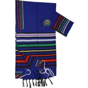 Gabrieli Handwoven Cotton Royal Blue Tallit Set - Josephs Multicolor Stripes