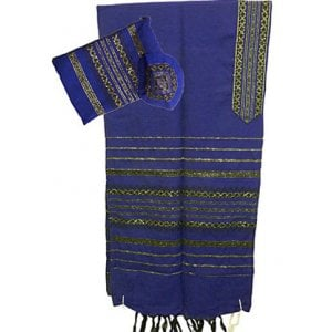 Gabrieli Handwoven Royal Blue Wool Tallit Set - Black and Gold stripes