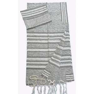 Gabrieli Handwoven Silk Tallit Set - Gray and Silver Stripes