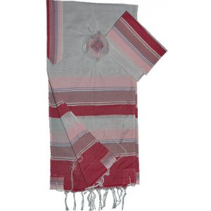 Gabrieli Handwoven White Silk Tallit Set - Shades of Pink and White Stripes