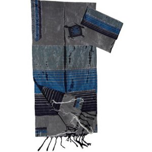 Gabrieli Handwoven Gray Silk Tallit Set - Shades of Blue Stripes