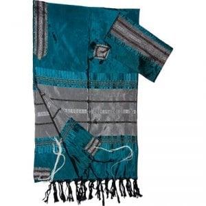 Gabrieli Handwoven Silk Teal Tallit Set - Blue and Silver Stripes