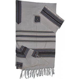 Gabrieli Handwoven White Silk Tallit Set - Blue and Gold Stripes
