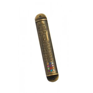 Round Twelve Tribes Gold Color Pewter Mezuzah