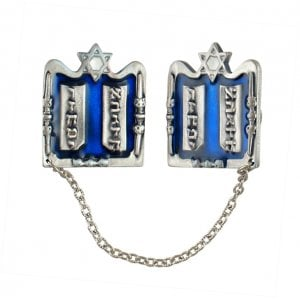 Silver Plated Tallit Prayer Shawl Clips - Tablets, Star of David and Candles