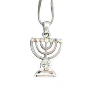 Rhodium Pendant Necklace, Seven Branch Menorah - Colored Stones
