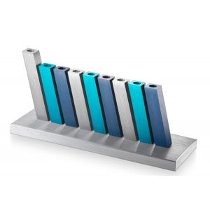 Adi Sidler Kinetic Hanukkah Menorah Aluminum - Turquoise, Blue and Silver Rods