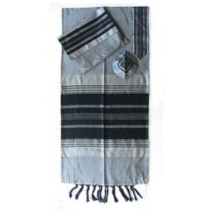 Gabrieli Handwoven Gray Silk Tallit Set - Black Stripes