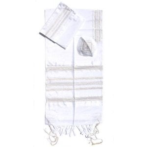 Gabrieli Handwoven White Silk Tallit Set - Gold and Silver Stripes