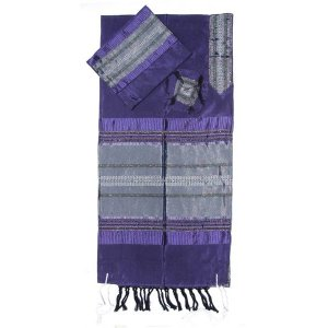 Gabrieli Handwoven Purple Silk Tallit Set - Silver Stripes