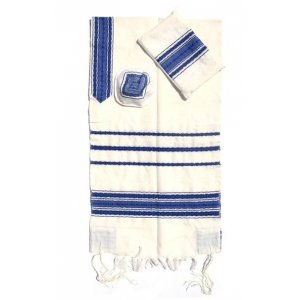 Gabrieli Handwoven white Wool Tallit Set - White with Blue Stripes