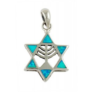 Silver and Opal Menorah Star of David Pendant