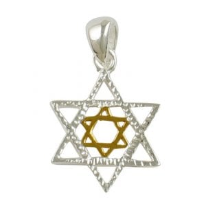 Silver Star of David Two-tone Pendant