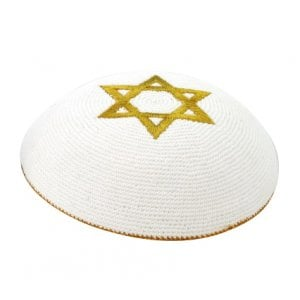 Gold Star of David knitted kippah