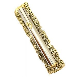 Silver and Gold Plated Jerusalem Mezuzah