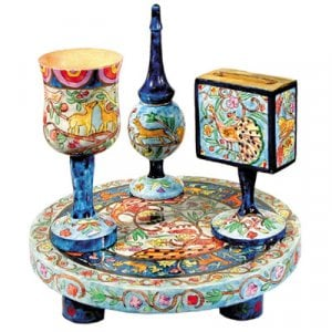 Yair Emanuel Hand-Painted 4-Piece Wood Havdalah Set - Oriental